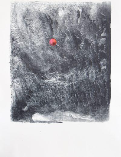 Floating 100 x 70 cm litho gouache pastel en collage op papier 2020