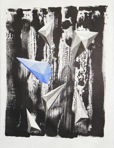 Floating 60 x 45 cm litho en pastel op papier 2021