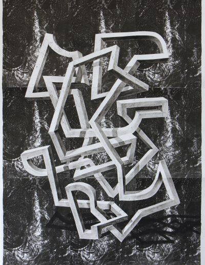 Loop 133 x 97 cm litho pastel en collage op papier 2020